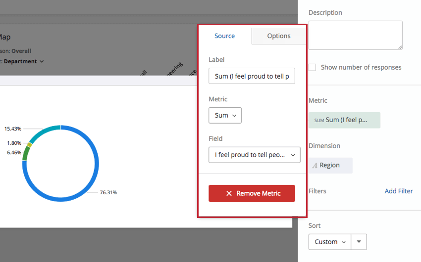 Metric settings on a Pie Chart expanded to show Source options