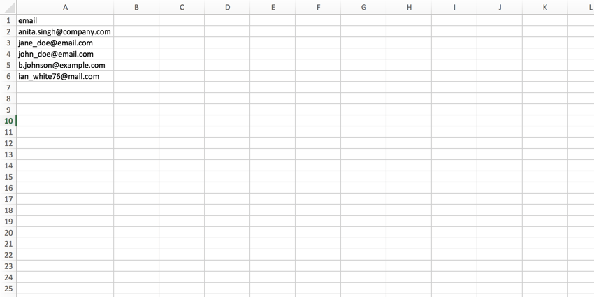 .CSV file with an email header and a list of emails underneath