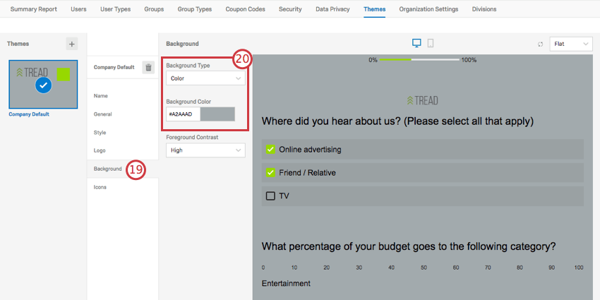 Background Color is selected, making the survey have a gray background