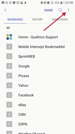Bookmark menu