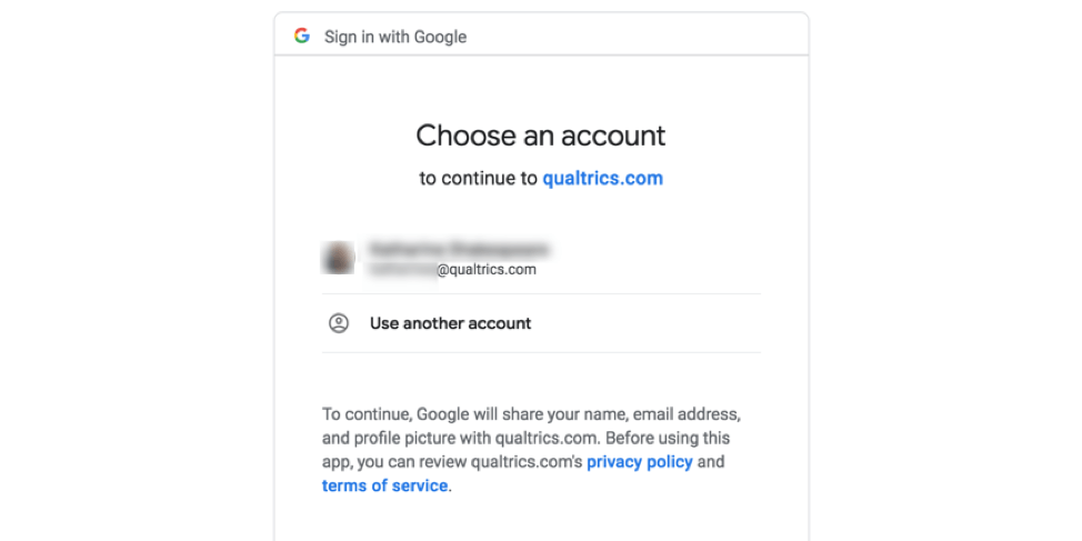 Choose an account screen for logging into Google