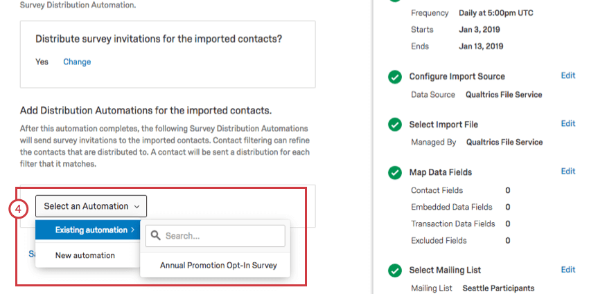Dropdowns allowing you to select from distribution automations you've made