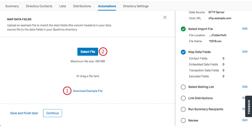Select file button in blue in center; example file link in blue text below