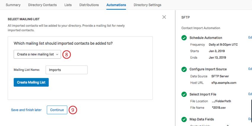 Champ pour choisir la liste de distribution. Dans cette capture d'écran, choisie pour en créer un nouveau, donc montre le champ du nom et le dessous de ce bouton bleu pour créer
