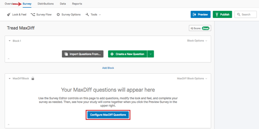 Blue Configure MaxDiff questions button in the Survey tab