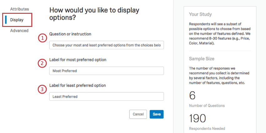 Numbered options in order of described. To the left, Display is selected