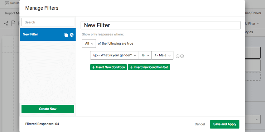 Manage filters window