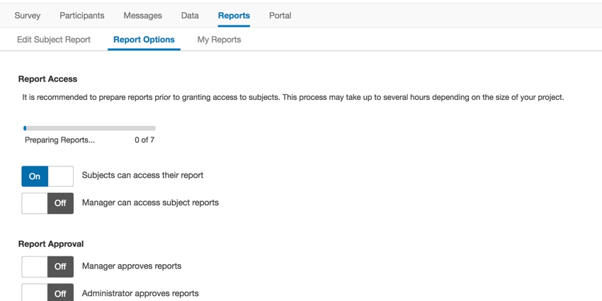 Loading bar at the top of the report options page
