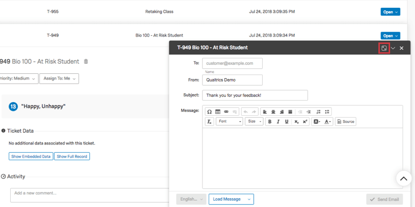 Email is now in corner like Gmail, allowing you to see the tickets in your follow-up page behind it