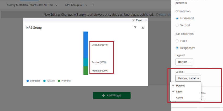 Labels in editing pane to right