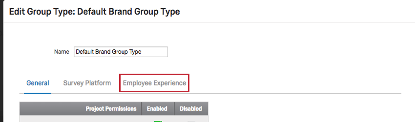 Image of Employee Experience permissions when editing a group