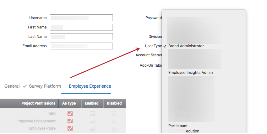Image of Employee Experience Permissions with EE compatible user types