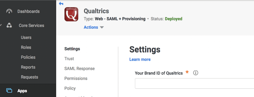 Info for Qualtrics entered into Centrify