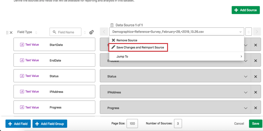Top of column clicked to reveal a dropdown with source replace option second