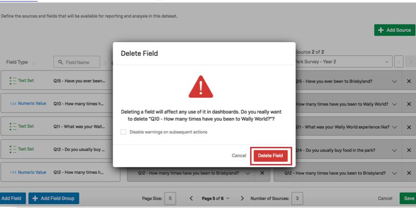 Delete Field button in red