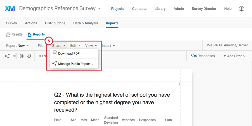 On a reports report, share option in gray toolbar is opened to reveal public report option