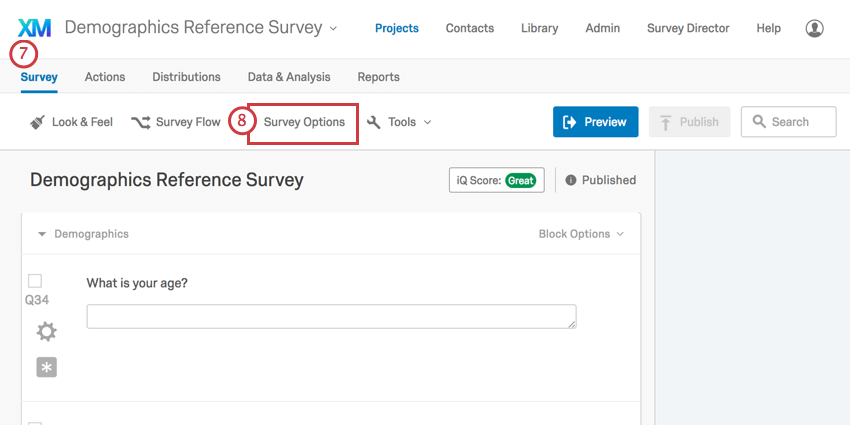 Survey options button in toolbar along top