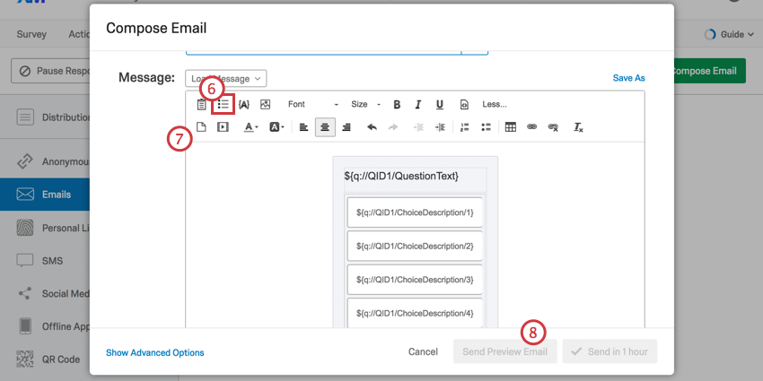 Inline email button second in rich text editor. Look like a tiny bulleted list