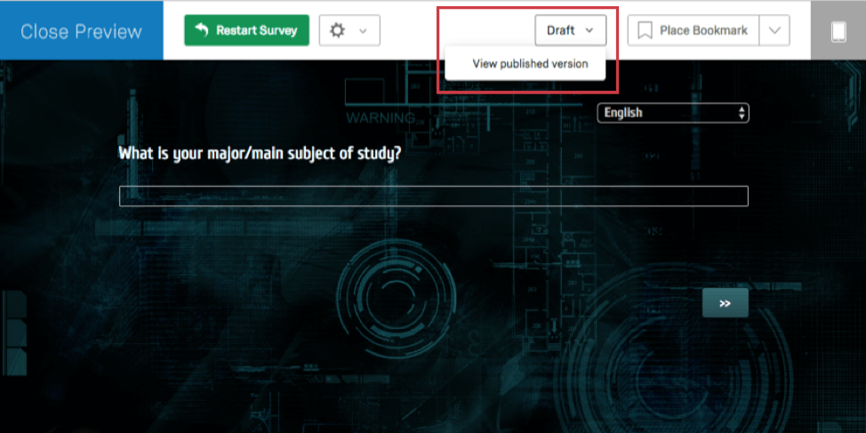 Inside a survey preview, dropdown towards center-right very top expanded