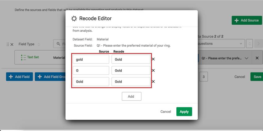 Standardize responses in Recode Editor