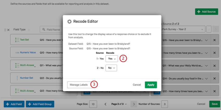 Recode Editor window with dropdowns and a mange labels button bottom left