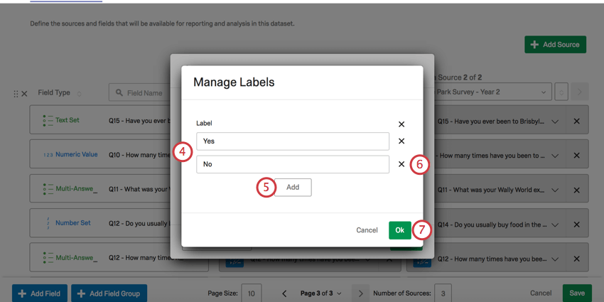 Manage Labels window