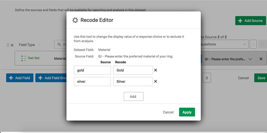 Modified recode editor