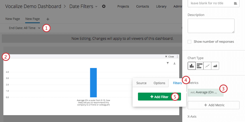 Page Filter grayed out in background, simple table opened to edit the filter on a metric (right side)