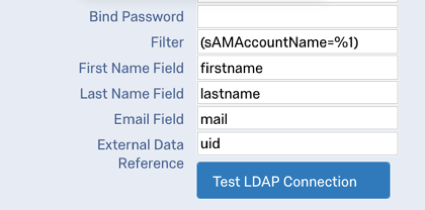 first name field firstname, last name field lastname, email field mail, external data reference uid