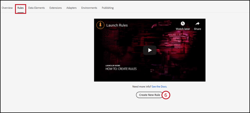 Image showing how to create a new rule in Adobe Launch