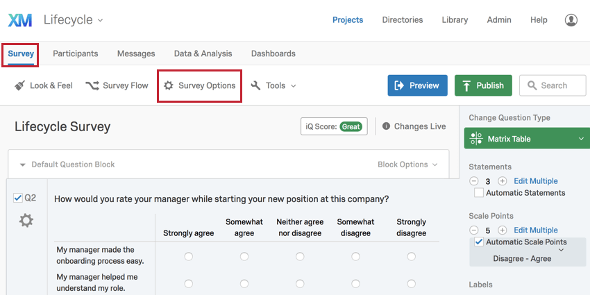 Image showing how to find Survey Options