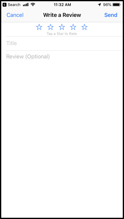 Image of the write feedback page for iOS devices