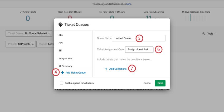 Ticket queues window