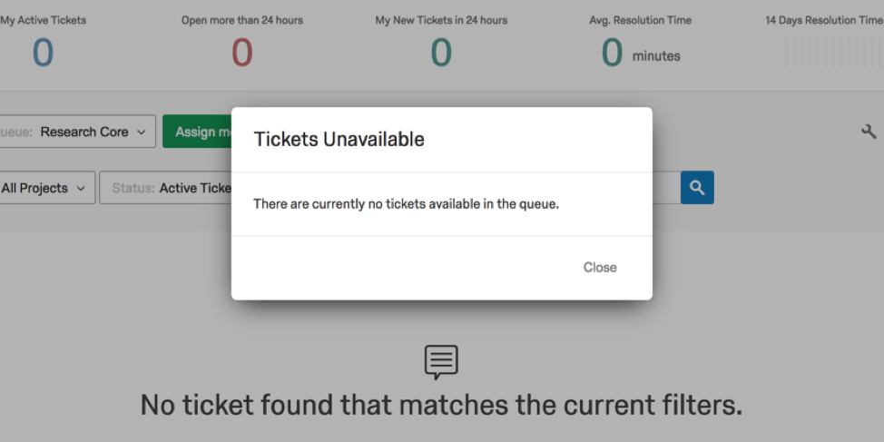 Tickets unavailable warning pop up