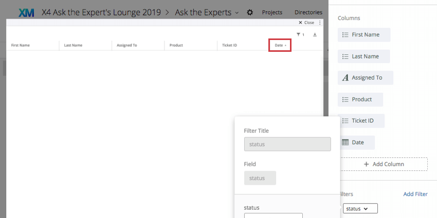 Date column header in the widget you are editing