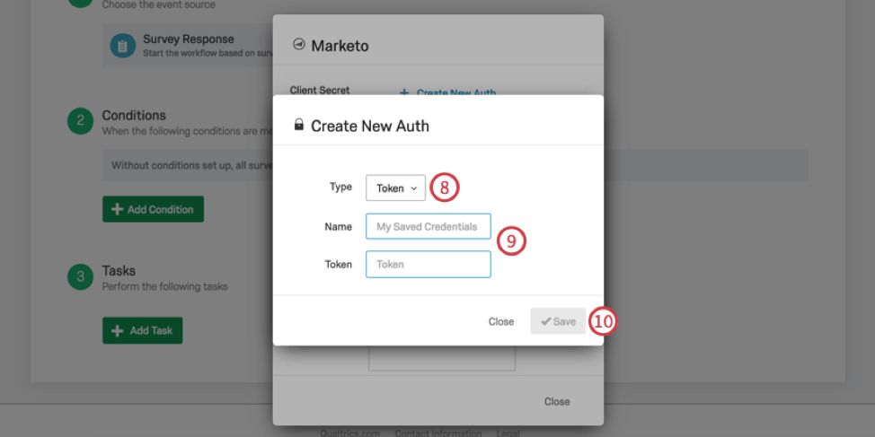 New window for entering login info