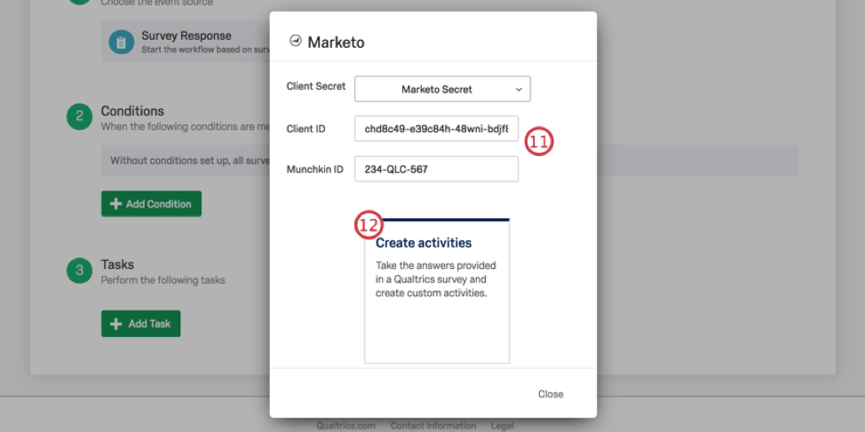 White marketo window in Qualtrics with info filled out
