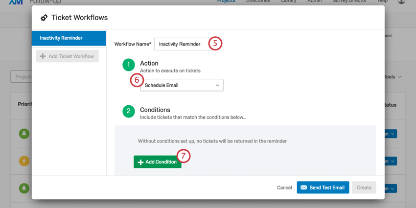 Workflows window where the workflow is named inactivity remidner and step 1, action, is set to schedule email