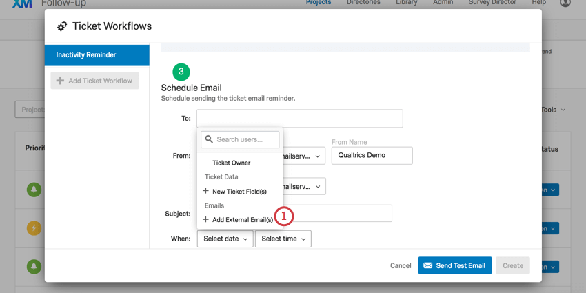Add external emails option at bottom of list