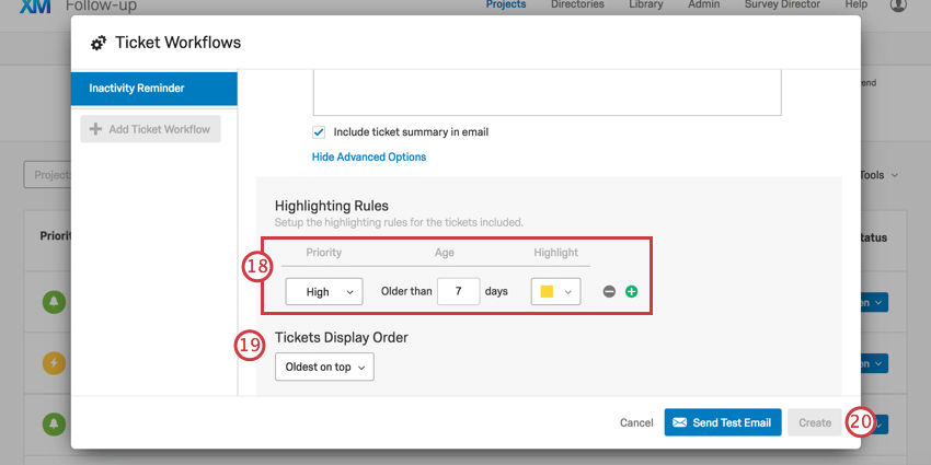 Highlight options and then ticket sorting option