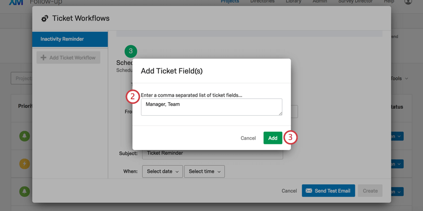 Listed ticket data in form box
