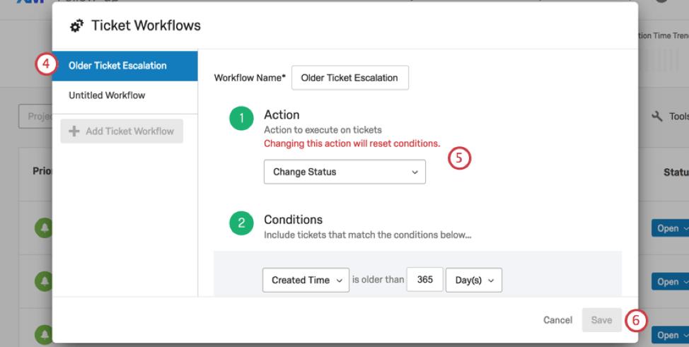 Ticket workflows window