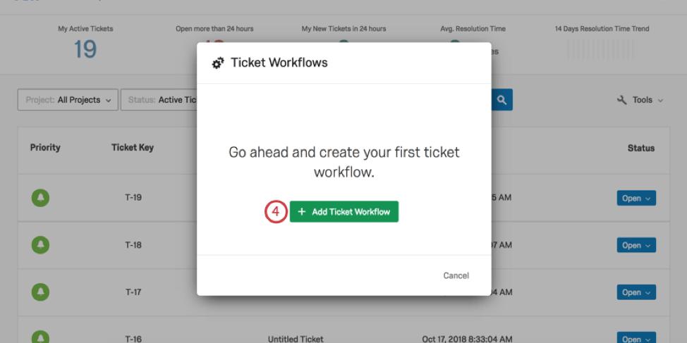 Ticket workflows window with create workflow button in center in green