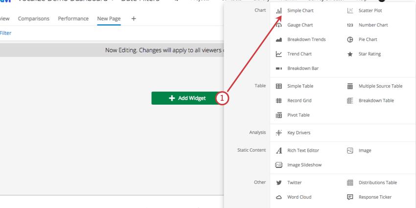 Add widget green button center of dashboard