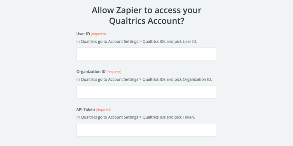 Fields in zapier for connecting to an account