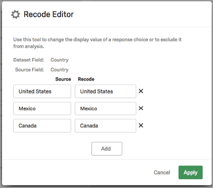 Recode Editor where each label is specified