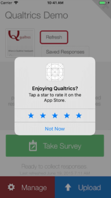 A window opens over the iphone's activity asking Enjoying Qualtrics? tap a star to rate it on the app store. Then there are five blue stars.