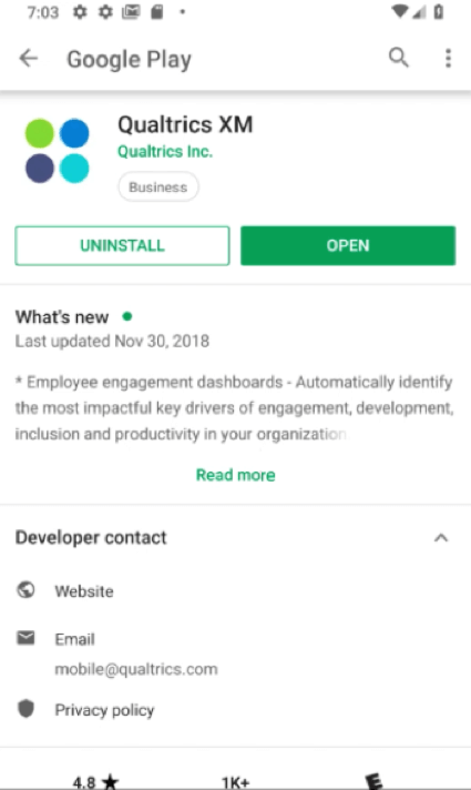Qualtrics app pulled up on the google play store