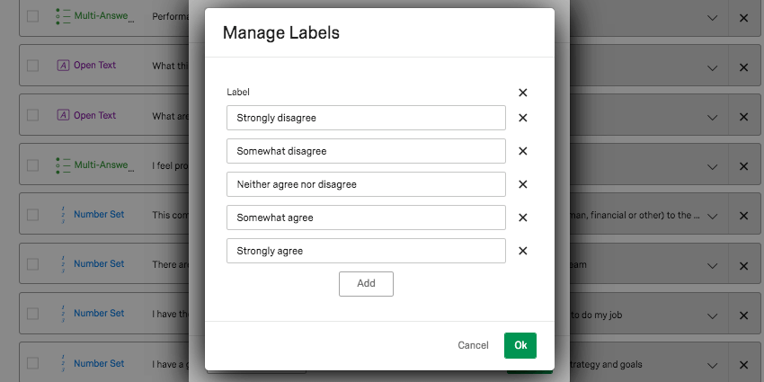 Window called Manage Labels over Recode Editor window. Open ended fields with names of the options, Strongly agree, Somewhat agree, etc. Each field has an X next to it. There's an Add button at the center-bottom