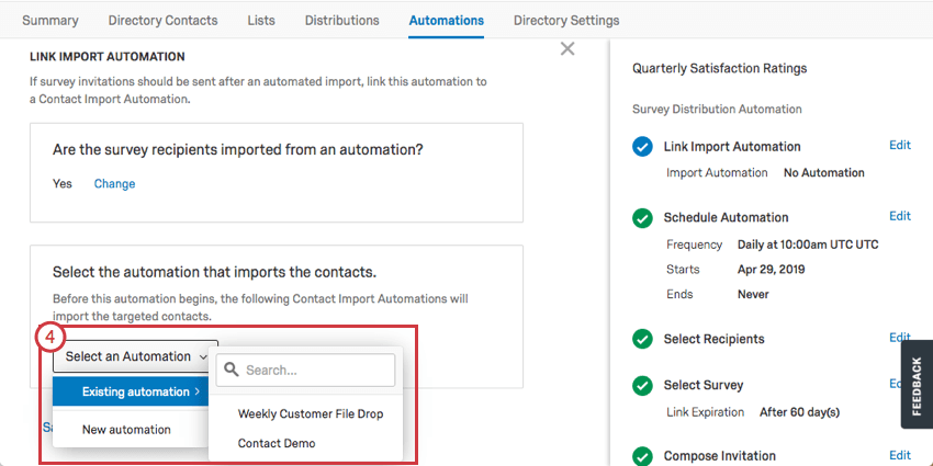 Selecting an existing contact automation